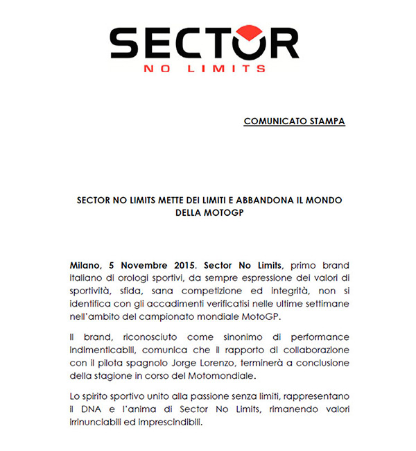 motowish sector no limits lorenzo 5 - Sector No Limits นาฬิกาแบรนด์ดังจากอิตาลี่โบกมือลา ลอเรนโซ่ - Sector No Limits  บริษัทผู้ผลิตนาฬิกาแบรนด์ดังจากอิตาลี่ ประกาศถอนการสนับสนุนสปอนเซอร์ให้กับนักแข่งหน้าหยก จากทีมยามาฮ่า