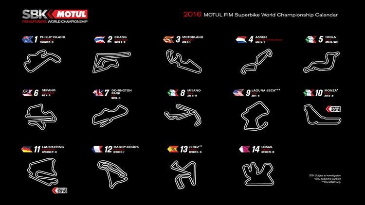 ตารางการแข่งขัน Superbike World Championship (WSBK) 2016 | MOTOWISH 30