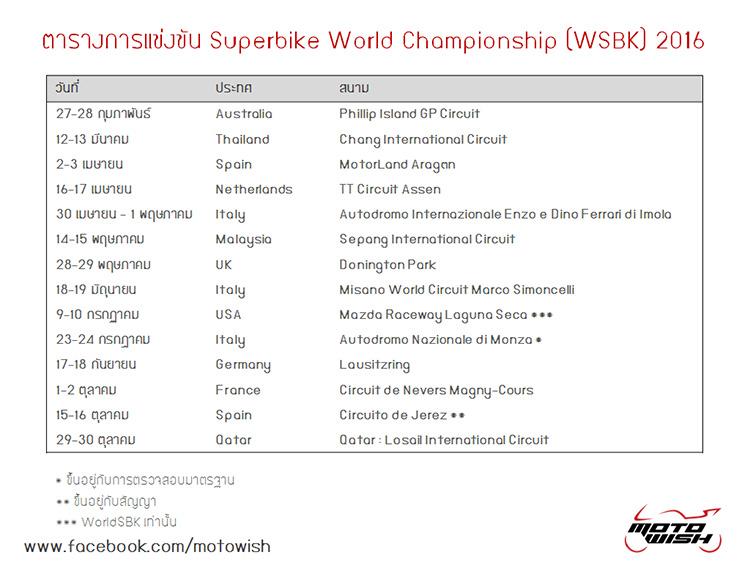web Motowish WSBK Calendar 2016 - ตารางการแข่งขัน Superbike World Championship (WSBK) 2016 - มาแล้ว มาแล้ว!! ตารางการแข่งขัน Superbike World Championship ปี 2016 แฟนๆชาวไทย พบกัน วันที่