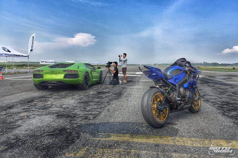 BMW S1000RR VS Lamborghini Aventador LP 700-4 คู่ Drag หยุดโลกแห่งปี #ที่นี่ประเทศไทย | MOTOWISH 106