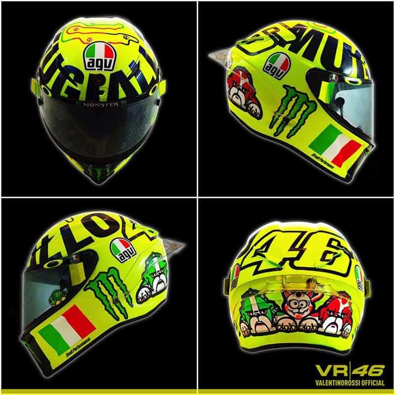 Rossi Speacial Mugello Helmet 2016 1 - #ทีมพ่อหมอ Rossi ใครจะสอยหมวกใหม่ Mugello 2016 โย๊กกมือขี้น !!! - พ่อหมอรอสซี่จอมเก๋า #46 ผู้นำแฟชั่นหมวกกันน็อค ออกคอลเลคชั่นตัวเจ็บอีกครั้งให้แฟนคลับได้กระเป๋าฉีกซื้อหมวกเพิ่มอีกหนึ่งใบใส่ตู้กับลาย Rossi special Mugello helmets 2016 สีเหลืองอร่ามออร่าทั้งใบ พร้อมลายแทรคสนาม Mugello บนกระหม่อมและเหล่าบรรดาสี่ขาสามเกลอที่ด้านหลัง พร้อมธงชาติอิตาลีและสปอนเซอร์เครื่องดื่ม Monster