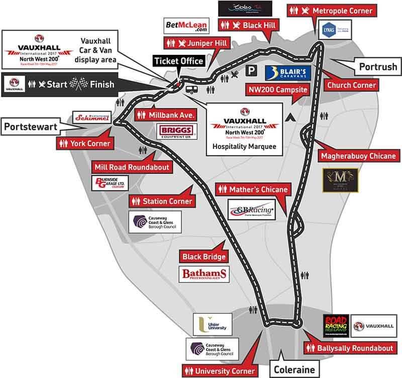 MotoWish circuit map 2017 North West 200 - ถ่ายทอดสด ปิดถนนแข่งรถในรายการ North West 200 มันส์ไม่แพ้ Isle Of Man TT - ชมถ่ายทอดสด ปิดถนนแข่งรถ Superbike ในรายการ North West 200 พบนักแข่งบ้าดีเดือดใจเกินร้อยชื่อดังมากมาย ร่วมปะทะฝีมือวัดใจแบบตายเป็นตาย มันส์แค่ไหนต้องชม แชร์ให้เพื่อนๆได้ลุ้นความมันส์ไปด้วยกัน