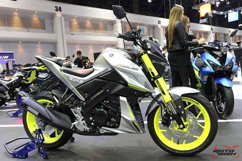 """MotoWish Motor Expo 2017 Yamaha M Slaz Gray Color - Yamaha เปิดตัวบิ๊กไบค์ใหม่ 2 รุ่น SCR950, XSR700 พร้อม M-SLAZ Limited Edition และ AEROX 155 สีใหม่ (Motor  Expo 2017) - ยามาฮ่าปลุกกระแสแห่งความเร้าใจครั้งใหม่ด้วยบูธแสดงภายใต้แนวคิด """"Yamaha Riders' Community"""" ยกทัพรถจักรยานยนต์หลากหลายรุ่นครบซีรีย์ให้สาวกยามาฮ่าได้สัมผัสกันอย่างเต็มพิกัด พร้อมดึง Johann Zarco"""