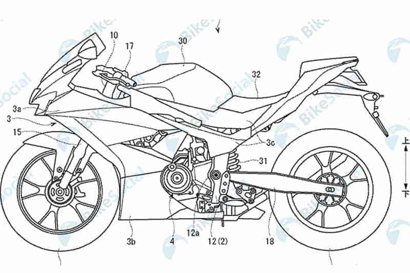 Suzuki GSXR300 Patent 1 - เปิดภาพสิทธิบัตร Suzuki GSX-R300 เห็นชัดขนาดนี้ เร็วๆนี้เจอกัน!! - สำหรับค่าย Suzuki ก่อนหน้านี้มีการพูดถึงข่าวลือรถสปอร์ตไบค์คลาส 300 ซีซี ในสายผลิตปี 2019 ดูเหมือนว่าข่าวนี้มีแนวโน้มความเป็นจริงมากขึ้นทุกที โดยล่าสุดมีภาพที่แสดงให้เห็นถึงสิทธิบัตรที่ได้ยื่นขอจดให้กับรถสปอร์ตไบค์ที่มีเครื่องยนต์แบบ 2 สูบ