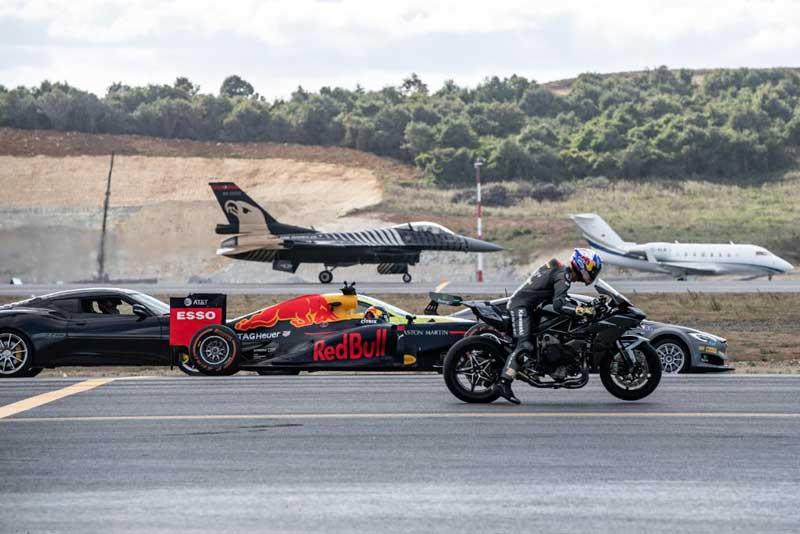 ใครจะชนะ !!! ระหว่างรถ Kawasaki H2R รถแข่ง F1 รถซุปเปอร์คาร์ และเครื่องบิน F-16 มาซิ่งแข่งกัน | MOTOWISH