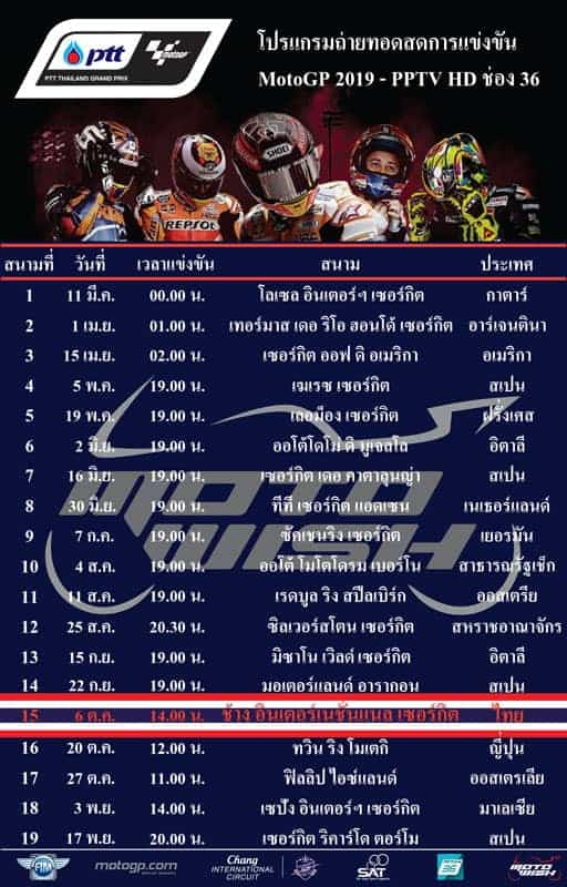 Calendario Test Motogp 2020.Motogp 2019 Calendar Dates