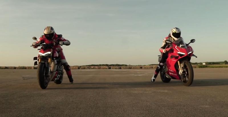 drag race ducati v4r vs streetfighter v4s