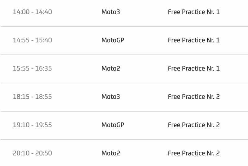 timetable motogp 2021 round 13 friday'