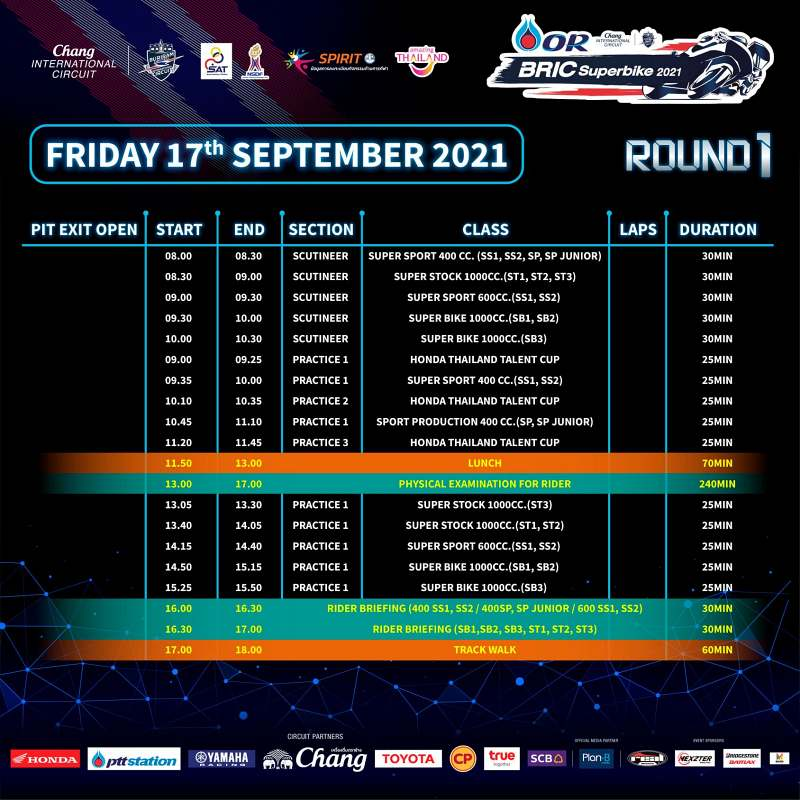 _timetable or bric superbike 2021 round1 -1