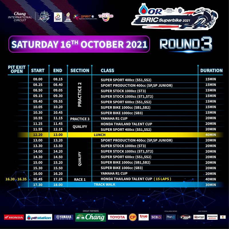 _timetable or bric superbike 2021 round 3-2